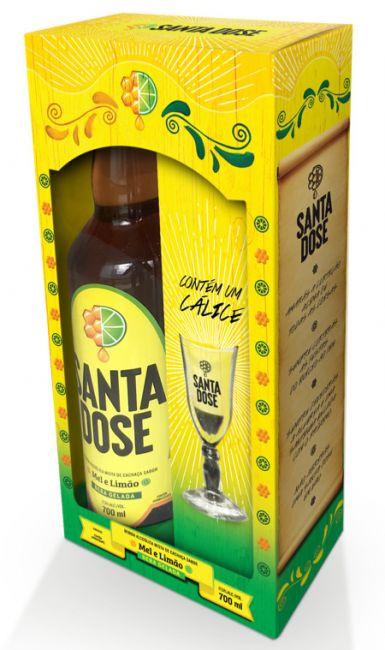 Kit Cachaça Santa Dose com Cálice 700 ml
