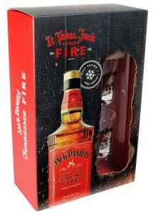 Kit Jack Daniels Fire 1000 ml 2 Copos
