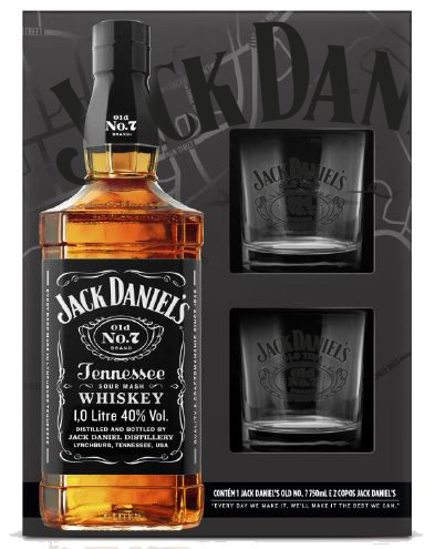 Kit Jack Daniels 1000 ml + 2 Copos